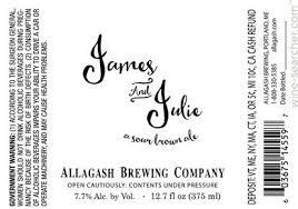 Allagash James and Julie beer Label Full Size