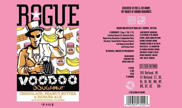 Rogue Voodoo Chocolate, Banana, & Peanut Butter beer Label Full Size