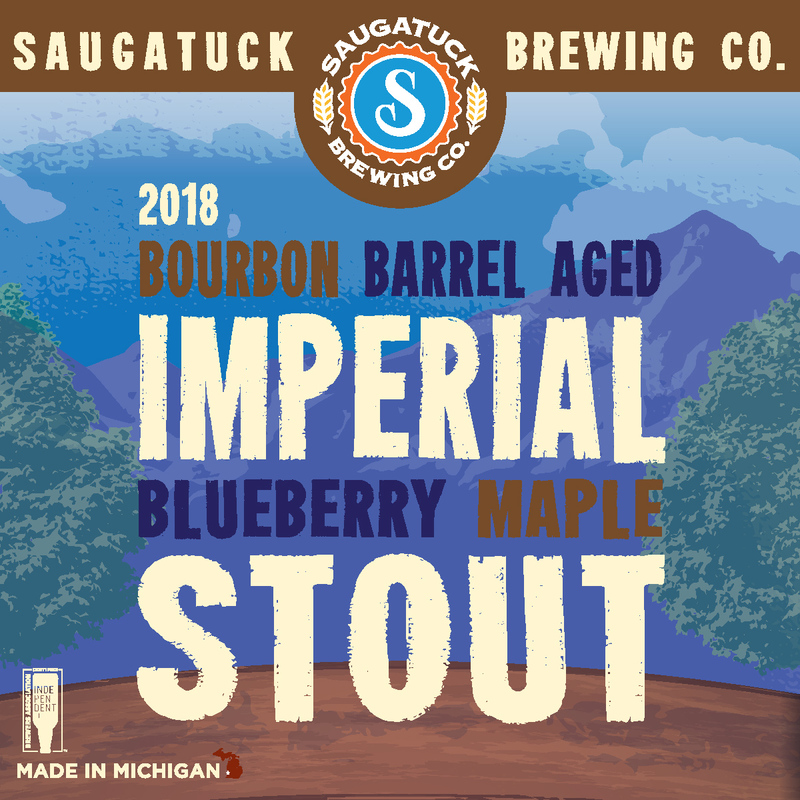 Saugatuck Bourbon Barrel-Aged Imperial Blueberry Maple Stout beer Label Full Size