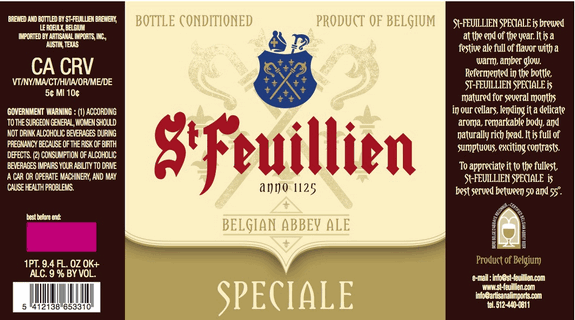 St. Feuillien Speciale 2008 beer Label Full Size