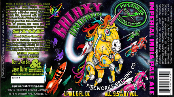 Pipeworks Unicorn Galaxy beer Label Full Size