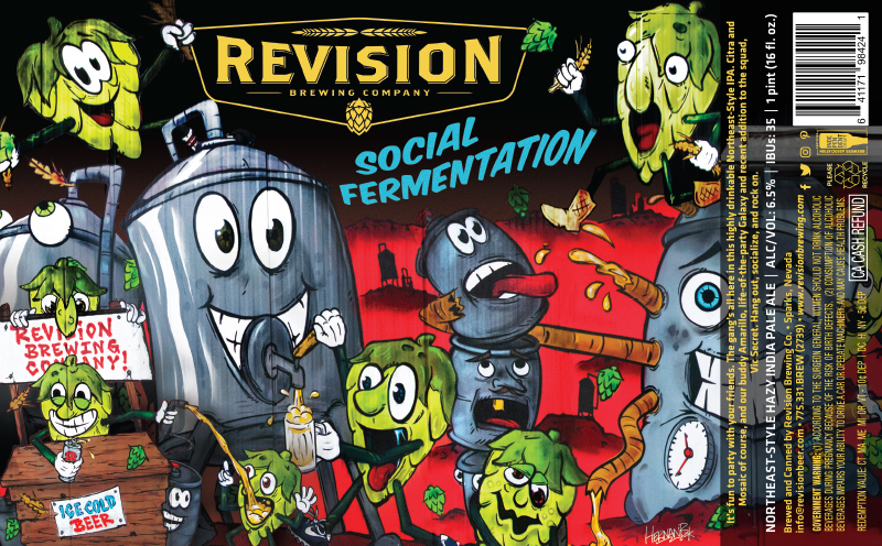 Revision Social Fermentation beer Label Full Size