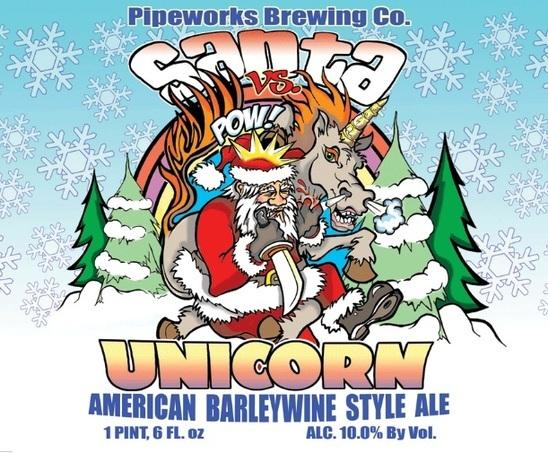 Pipeworks Santa Vs Unicorn beer Label Full Size