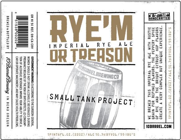 10 Barrel Rye'm or Treason beer Label Full Size