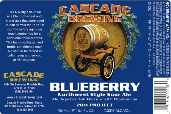 Cascade Blueberry beer Label Full Size