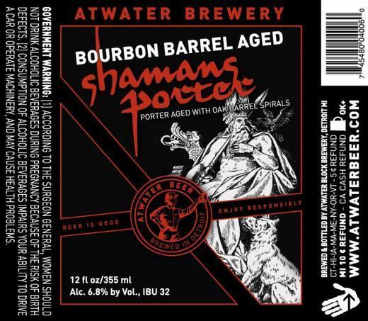 Atwater Bourbon Barrel Shaman's Porter beer Label Full Size