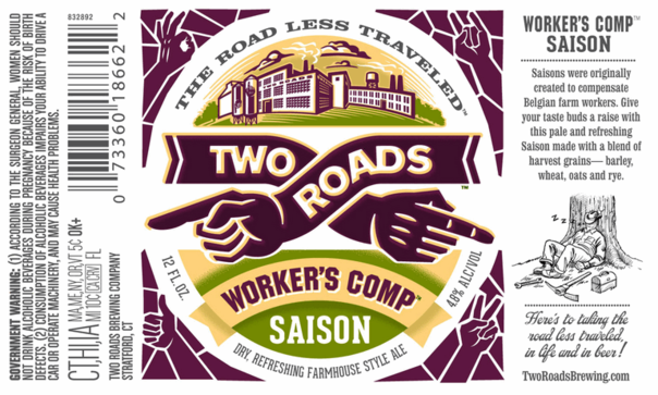Two Roads Worker's Comp beer Label Full Size