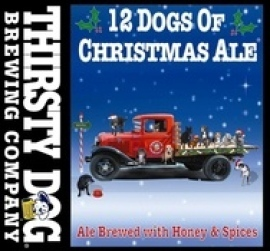 Thirsty Dog Bourbon Barrel Aged 12 Dogs of Christmas Ale beer Label Full Size