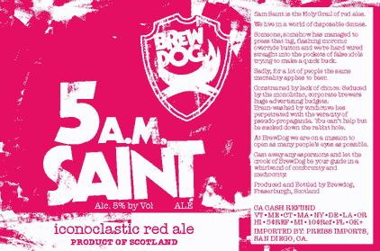 BrewDog 5 A.M. Saint beer Label Full Size