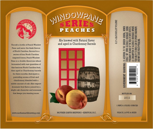 Mother Earth Windowpane Series: Peaches beer Label Full Size