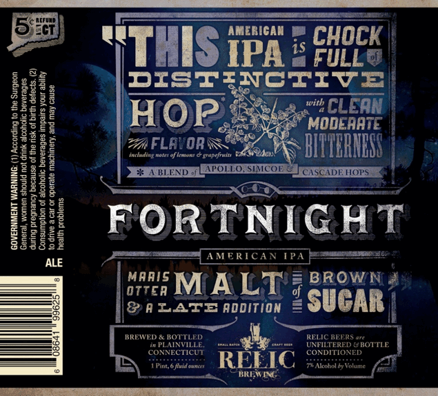 Relic Fortnight IPA beer Label Full Size