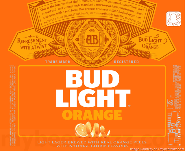 Bud Light Orange beer Label Full Size