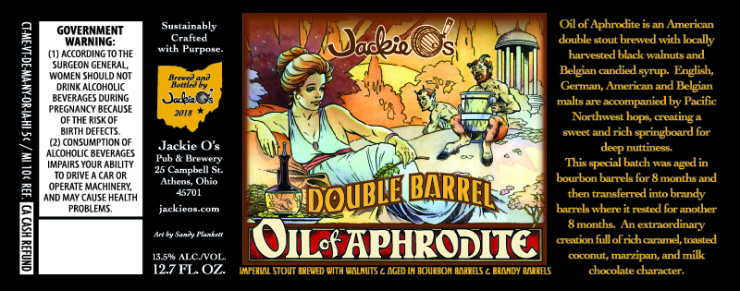 Jackie O's Double Barrel Oil of Aphrodite beer Label Full Size