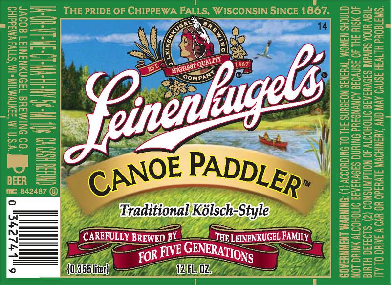 Leinenkugel's Canoe Paddler beer Label Full Size