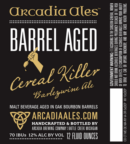 Arcadia Barrel Aged Cereal Killer beer Label Full Size