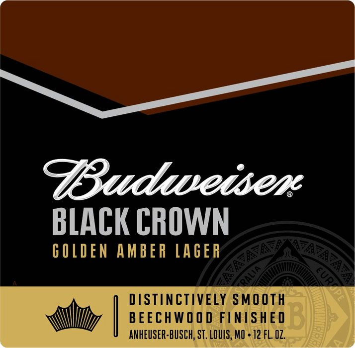 Budweiser Black Crown beer Label Full Size