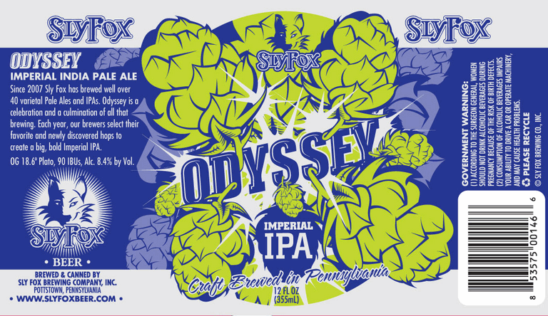Sly Fox Odyssey beer Label Full Size