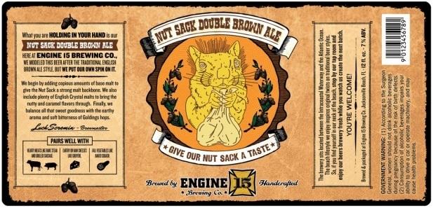 Engine 15 Nut Sack beer Label Full Size