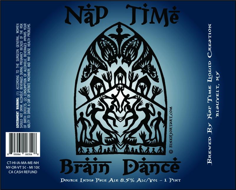 Nap Time - Brain Dance DIPA beer Label Full Size