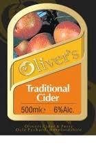 Oliver's Traditional Cider beer Label Full Size