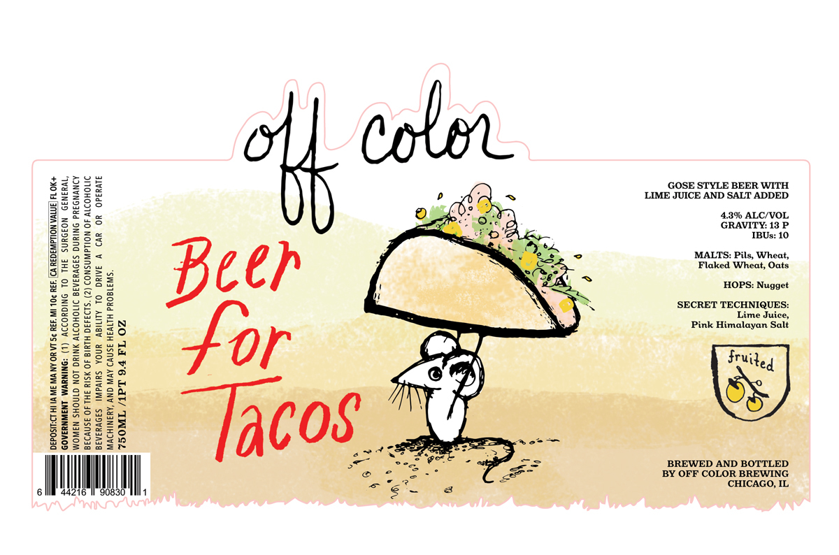 Off Color Beer for Tacos beer Label Full Size