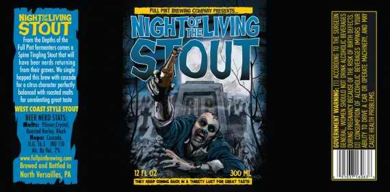 Full Pint Night of the Living Stout beer Label Full Size