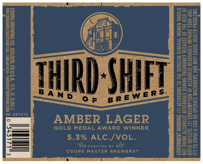 Coors Third Shift beer Label Full Size