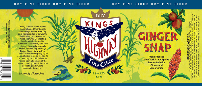 Kings Highway Ginger Snap beer Label Full Size