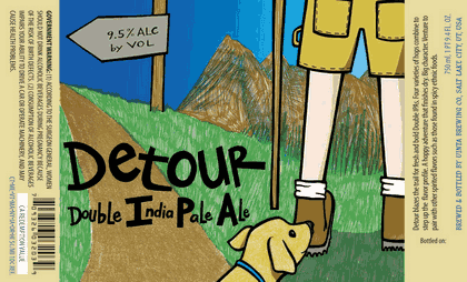 Uinta Detour Double IPA beer Label Full Size
