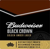 Budweiser Black Crown Golden Amber Lager Beer