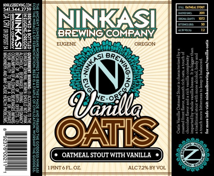 Ninkasi Vanilla Oatis beer Label Full Size