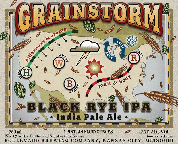 Boulevard Grainstorm Black Rye IPA beer Label Full Size