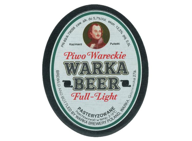 Warka Full Light beer Label Full Size