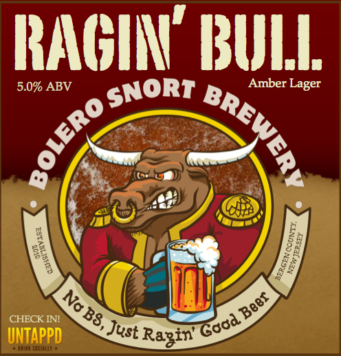 Bolero Snort Ragin' Bull beer Label Full Size