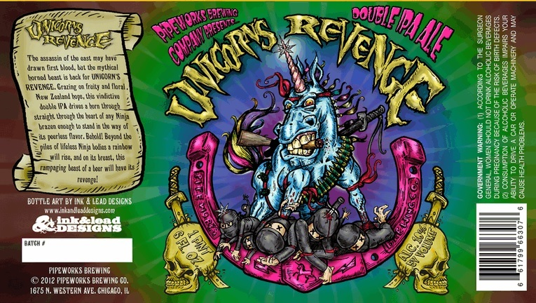 Pipeworks Unicorn's Revenge beer Label Full Size