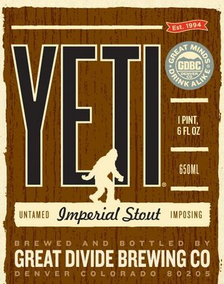 Great Divide Yeti Imperial Stout beer Label Full Size