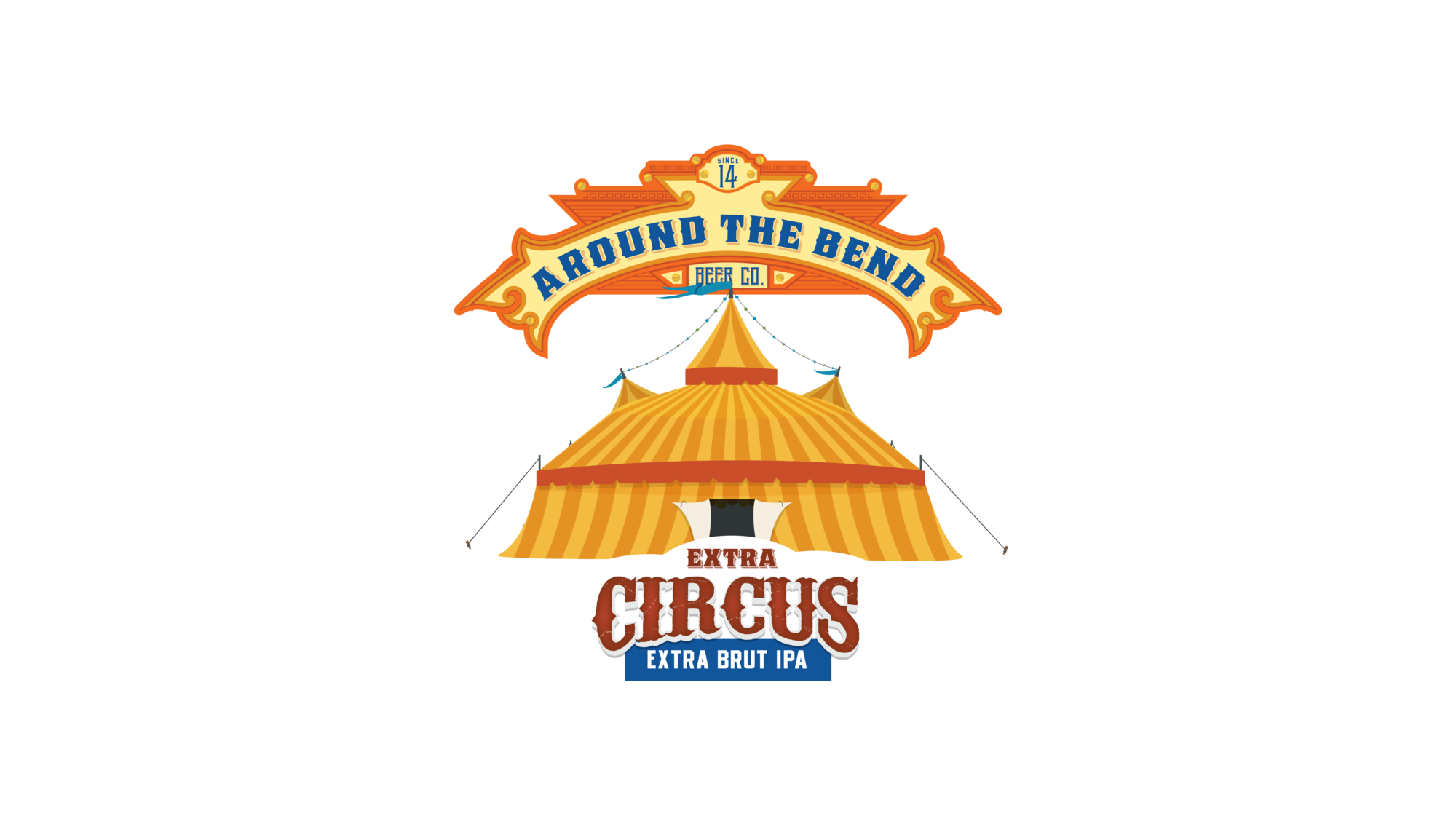 Around the Bend Extra Circus beer Label Full Size