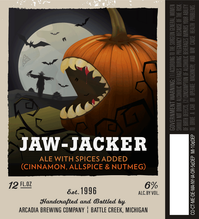 Arcadia Jaw-Jacker beer Label Full Size