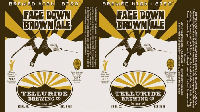 Telluride Face Down Brown beer Label Full Size