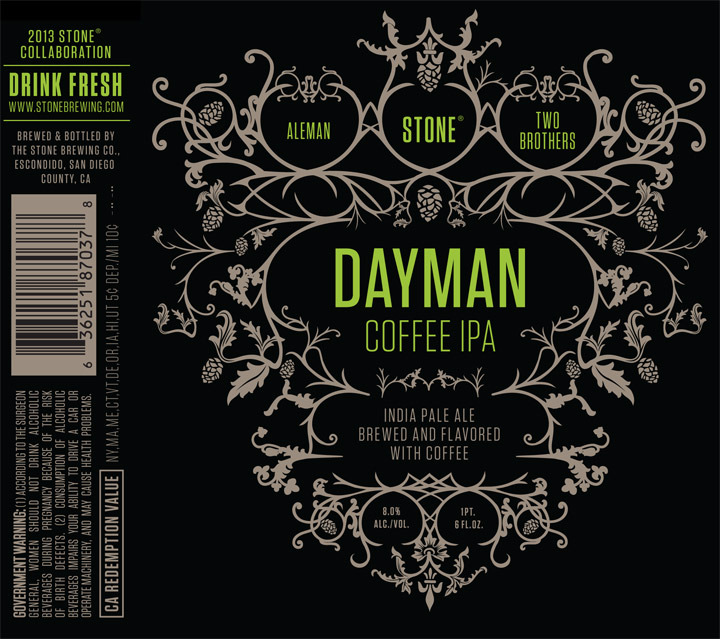 Stone + Two Brothers + Aleman Dayman Coffee IPA beer Label Full Size