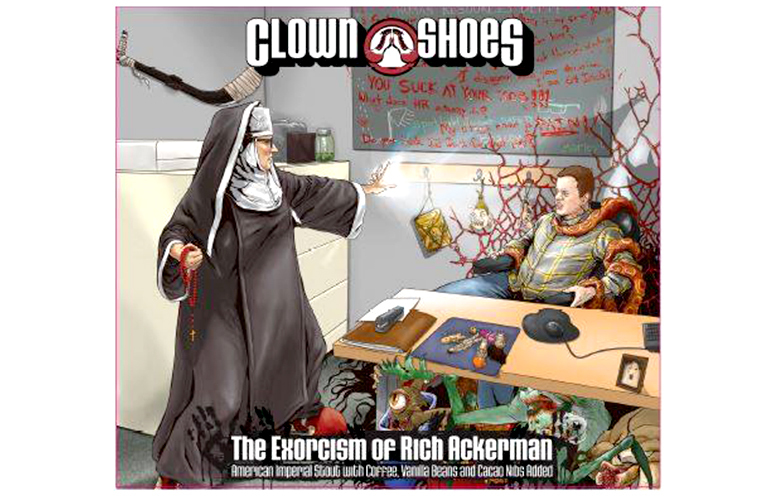 Clown Shoes Exorcism of Rich Ackerman beer Label Full Size