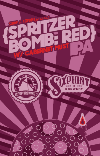 Sixpoint / Sloop Spritzer Bomb - Red beer Label Full Size
