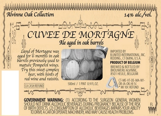 Alvinne Cuvee de Mortagne beer Label Full Size