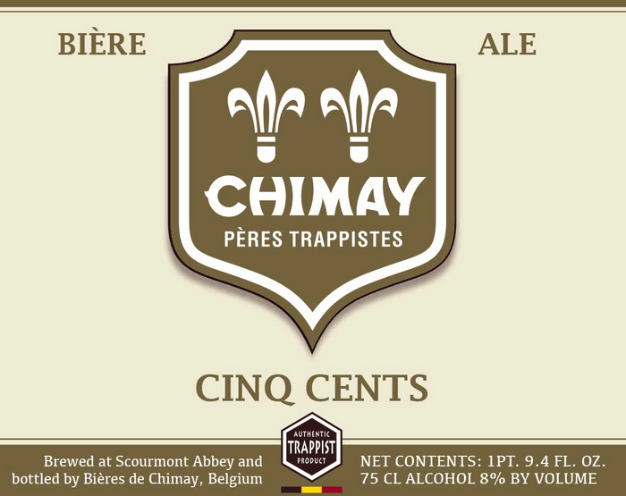 Chimay Cinq Cents (White) beer Label Full Size