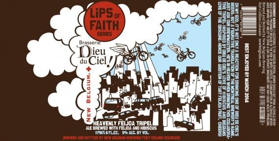 New Belgium + Dieu Du Ceil Lips of Faith: Heavenly Feijoa Tripel beer Label Full Size