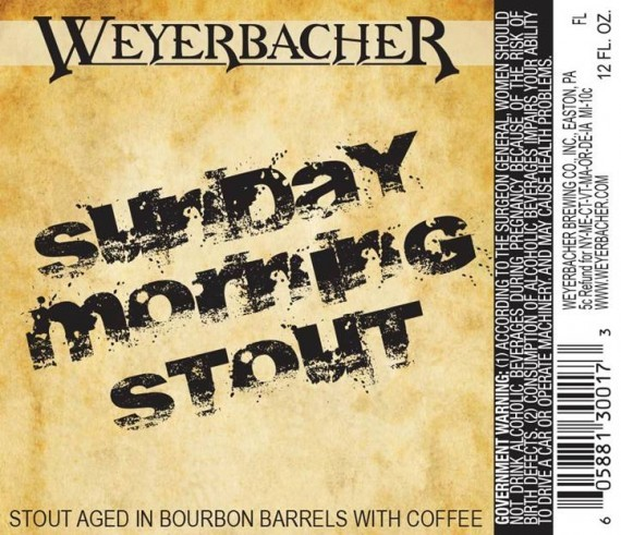 Weyerbacher Sunday Morning Stout beer Label Full Size