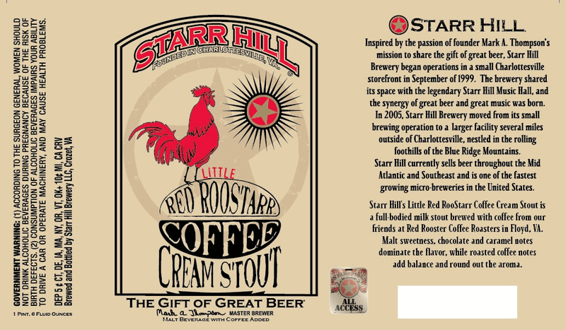 Starr Hill Little Red RooStarr beer Label Full Size