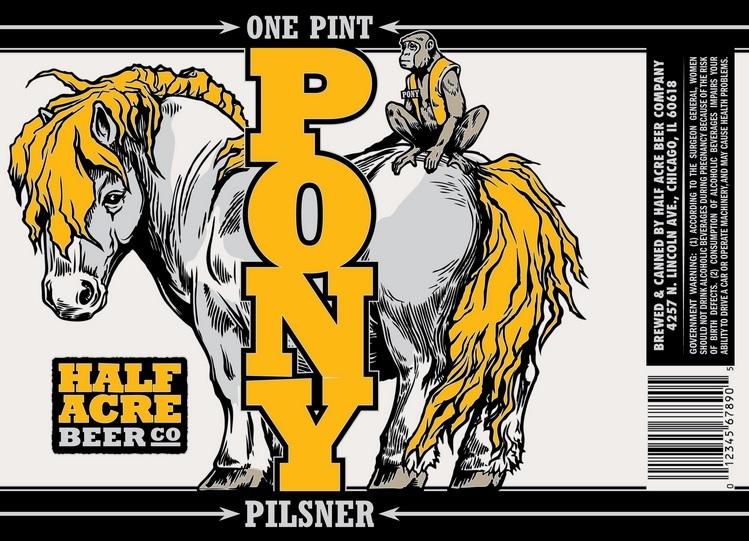 Half Acre Pony beer Label Full Size