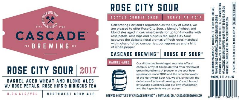 Cascade Rose City Sour 2017 beer Label Full Size