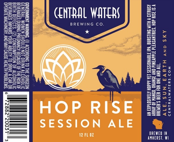 Central Waters Hop Rise beer Label Full Size